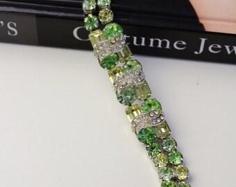 Vintage Eisenberg  Shades of Green & White Rhinestone Bracelet