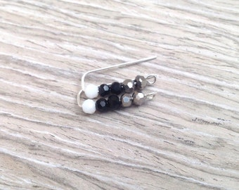 Sterling Silver Ear Pins, Ear Sweeps, Ear Climbers, Black Grey White Faceted Glass Beads