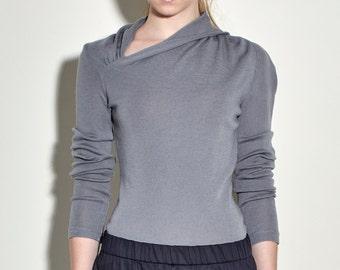 Grey Sweater with Extra Fine Merino Sweater - Grey Asymmetric Sweater with Twist Detail - Grey Sweater - Wool Sweater - Free Shipping