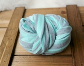 NEWborn photography prop, light baby aqua blue gray striped stretch wrap, prop layering, photography prop,newborn photo wrap,ready to ship