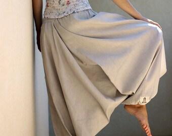 Harem pants, Striped Cotton Linen pants, Womens Mens yoga pants, Gray Beige Drop Crotch Loose fit Baggy Wide leg pants, Sarouel Homme Femmes