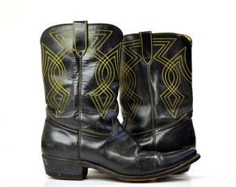 Vintage Yellow Stitched Black Leather Western Cowboy Boots, 11.5 Mens