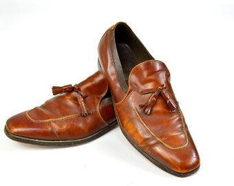 SALE Vintage Aristocraft Johnston & Murphy Brown Leather Tasseled Dress Shoe Mens 11