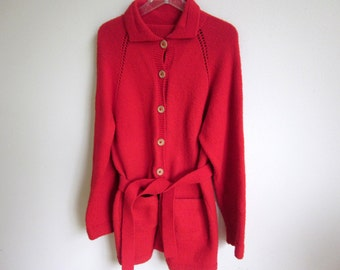 Vtg 50s Hand Knit cardigan sweater red wool- belted tunic length L XL