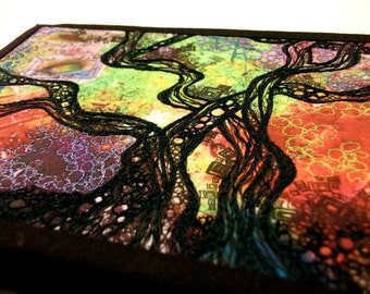"""Fiber art quilt, thread doodled, tree silhouette on inkjet-printed fabric, free-motion quilted, 5""""x7"""""""
