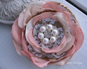 Blush Pink Hair Clip Burlap Hair Clip Burlap Headband Flower Girl Lace Burlap Flower Burlap Wedding Fabric Flower Clip Flower Headband