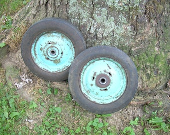 Pair of Vintage Country Blue Wagon Wheels