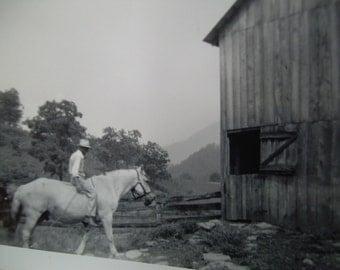VIntage Snapshot Photo - Rider on Horseback - Barn