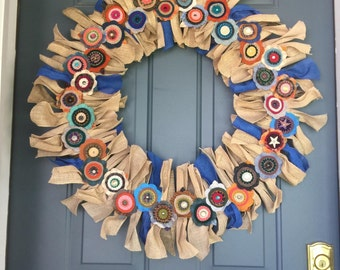 OOAK Felted Wool and Burlap Wreath, 24 inches - Made to Order for You!