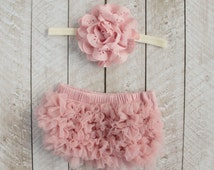 Baby Girl Ruffle Bottom Bloomer & Headband Set in Mauve - Newborn Photo Set - Infant Bloomers - Diaper Cover - Baby Gift - by Couture Flower