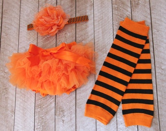Halloween Baby Girl Ruffle Bottom Tutu Bloomer, Leg Warmer & Headband Set in Orange and Black - Newborn Photo Set - Costume - Diaper Cover