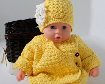 Baby Yellow Sweater and Hat - Crochet Sweater and Hat - Baby girl Sweater and Hat - Yellow Baby Cardigan - Size 3-6 Months