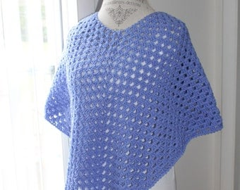 Hand Crochet Shawl / Poncho - Child 8 to 12 years - Periwinkle