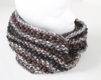 Chunky Knit Infinity Scarf - Black, Grey, and Browns Scarf - Dark toned Cowl