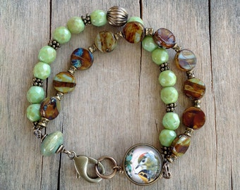 Autumn Green Brown Resin Bird, Czech Glass Multi-Strand Boho Brass Bracelet