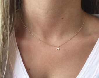 Pavé Initial Necklace, 18k Gold, Dainty Necklace, Tiny Initial Necklace
