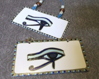 Ivory Styled Egyptian Eye of Ra Metal Sign Home Decor Handpainted Door Hanger