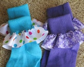 Ruffle Party Socks for Girls Polka Dots and Frozen Snowflakes Size Medium