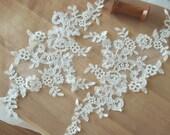 Ivory Cotton Bridal Lace Applique, Alencon Wedding Applique Pair for Bridal Wedding Accessories , Garters, Veils, Gowns