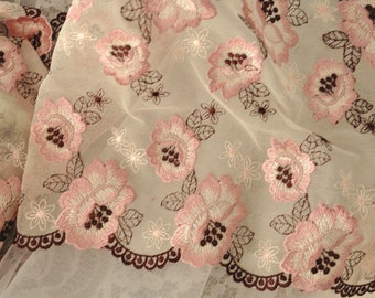 2 yards Double Scalloped Embroidery Lace Trim in Pink