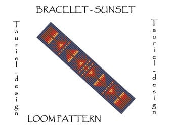Loom pattern - beadwork bracelet - ethnic - Sunset