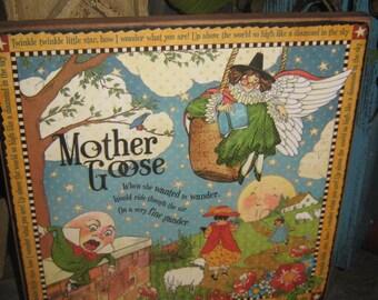 "Primitive Vintage Subway Wood Sign "" MOTHER GOOSE Nursery Rhymes ""  Baby Gift Storybook Riddles Wall Art  Country Folkart Housewares Rustic"