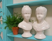 Vintage Busts of Boy & Girl in White .........Neoclassical Shabby Chic Decor