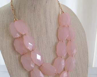 Pale Pink Statement Necklace Double Stranded Faceted Chunky Beaded Bridesmaid Necklace