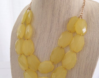 Yellow Statement Necklace Double Stranded Chunky Faceted Beaded Bridesmaid Necklace