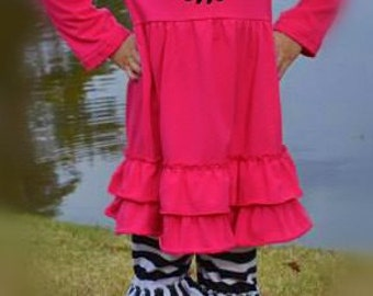 Monogrammed Pink/Black  Ruffle Outfit!!
