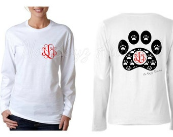 Monogrammed Paw Print Shirt!! Short or Long Sleeve--YOUTH or ADULT