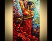 "Painting 48"" x 24"" Flamenco Dancer Wall Decor Painting Palette   by Paula Size  48"" x 24 Modern Art Red Dress Dancer Giclee wall decor Print"