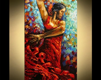 Painting Flamenco Dancer original Palette knife art by Paula Modern Red Dress Dancer Wall Decor accent colors