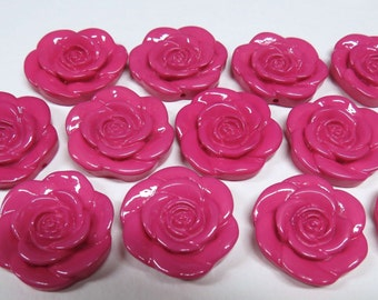 12 ROSE PINK Flower Beads, Chunky Rose Beads, 33mm resin, Bubblegum Flower Beads, Chunky Beads, Bubblegum Beads