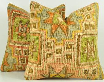 Set of 2 Kilim Pillow Covers, skp12-62, Decorative Pillows, Kilim Pillow, Moroccan Pillow, Turkish Kilim, Bohemian Pillow, Turkish Pillow