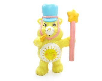 "Funshine Bear Vintage Care Bears Miniature Figurine or Cake Topper ""Ready to Lead the Parade"""