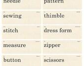 Vintage Style Sewing Flash Cards Printable JPG Digital Collage Sheet
