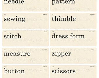 Vintage Style Sewing Flashcards Printable Digital Collage Sheet