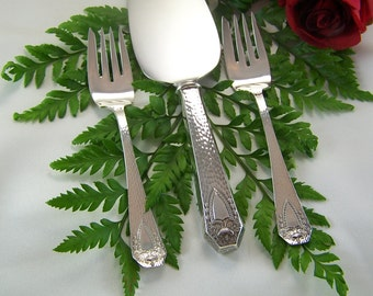 Wedding Cake Server and Matching Forks, WEDDING CAKE SET, Vintage Sterling Silver Plated, Heraldic by Rogers, 1916, Under 50