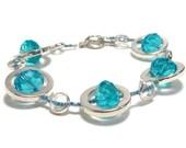 Plus Size Bracelets - Turquoise Bracelet - Silver Circles Strand Bracelet - Beadwork Bracelet - Gifts Under 25