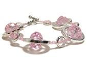 Pink Bracelet - Pink Beadwork Bracelet -Silver Circles Strand Bracelet - Women's Jewelry - Gifts Under 25