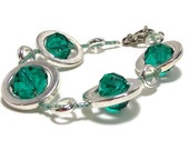 Teal Bracelet - Silver Circles Strand Bracelet in Teal - Women's Jewelry - Gifts Under 25