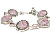 Plus Size Bracelet - Pink Bracelet - Silver Circles Strand Bracelet - Women's Bracelet - Gifts Under 25