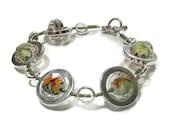Women's Bracelet - Plus Size Bracelets - Silver Circles Strand Bracelet in Olive & Orange