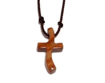 Cross Necklace - Men's Cross Jewelry - Australian Lacewood - Handcrafted Cross Necklace