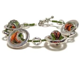 Silver Bracelet, Beadwork Bracelet, Beaded Bracelet, Statement Bracelet, Womens Jewelry, Womens Bracelet, Bead Jewelry, Gift Under 25
