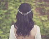 Bridal pearl hair chain, crystal head piece, rhinestone head wrap, jewelry hairpiece, bohemian bride, silver accessories, boho - style 228