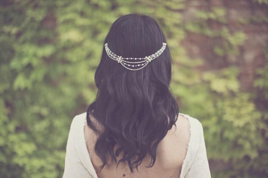 Bridal Hair Accessories Boho : Bridal pearl hair chain crystal head piece rhinestone