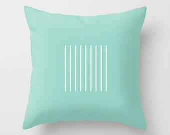 30 colours, Minimalist Lines Pattern Decorative Pillow Cover, aqua pillow cover, Aqua and white lines pattern, Geometric Cushion cover