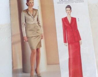Bill Blass - mother of the bride - Jacket & Skirt pattern - Vogue 2543 - American  Designer - size 6-8-10 - uncut - factory folds - wedding